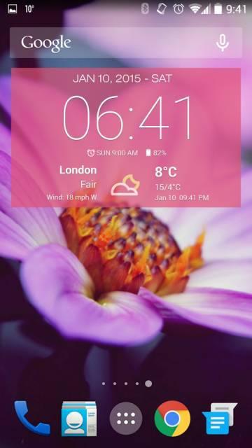Виджет Погода и Часы на андроид